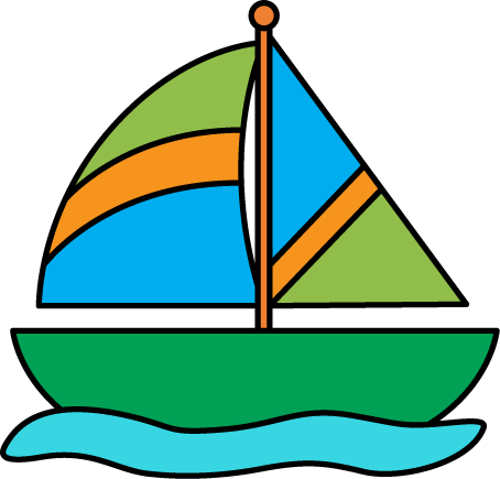 Sailboat in Water Clip Art.