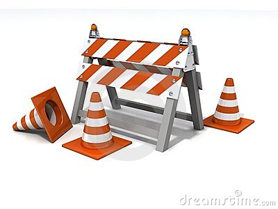 Orange Road Barrier Under Consruction Stock Photo.