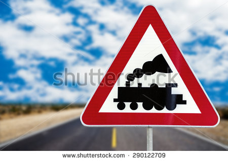 Level Crossing Without Barrier Or Gate Ahead Stock Photos, Images.