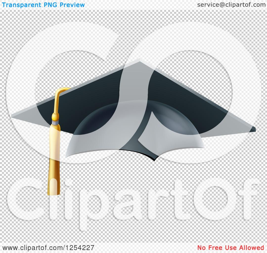 Clipart of a 3d Mortar Board Graduation Cap.