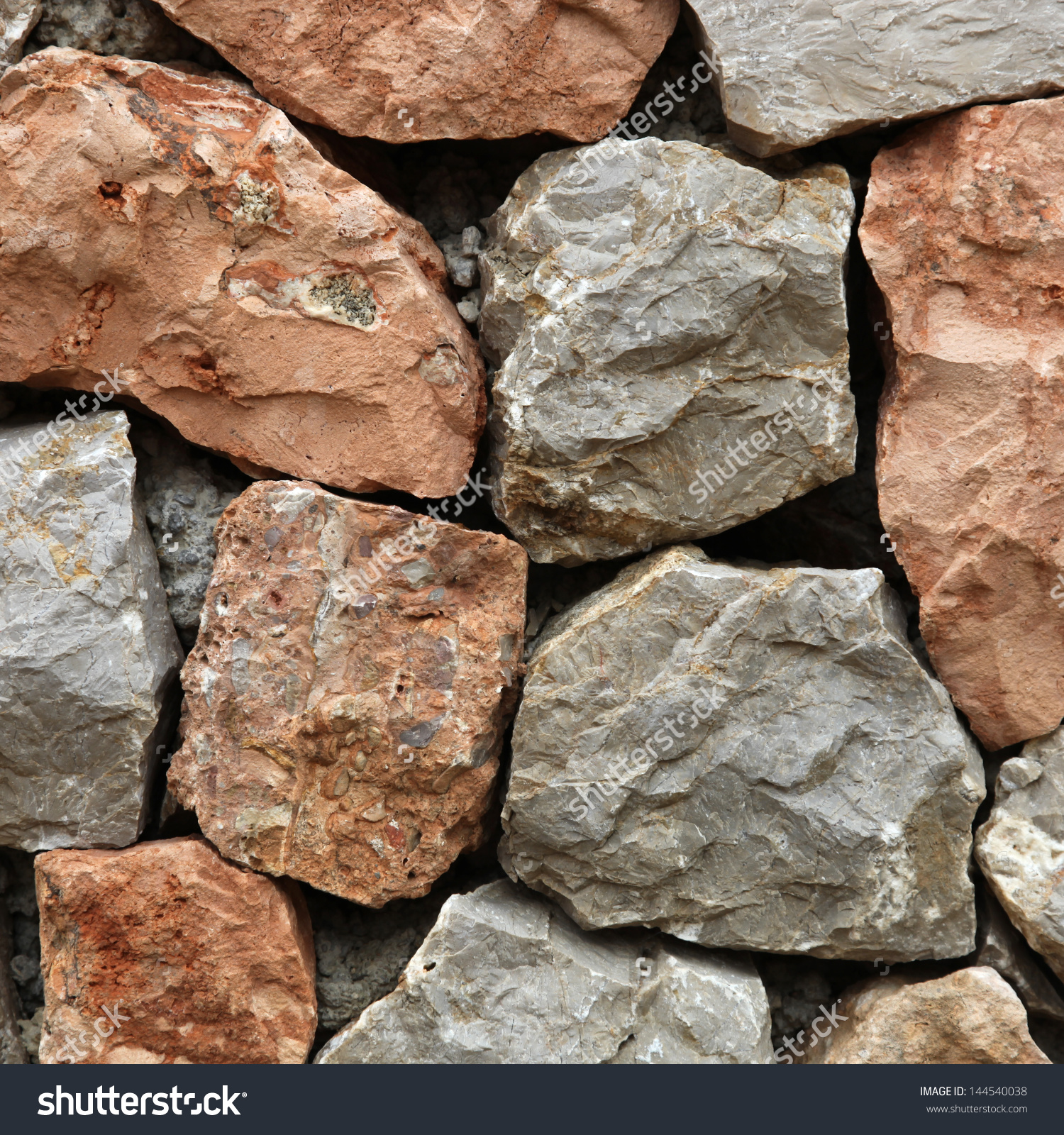 Large Rough Hewn Natural Stones And Rocks Interlocked Without.