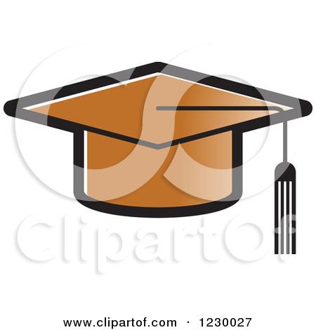 Clipart of a Black and White Mortar Board Graduation Cap Icon.