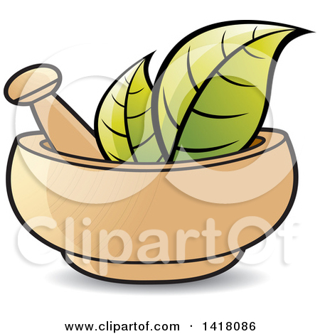 Clipart of a Black and White Mortar and Pestle with Leaves.