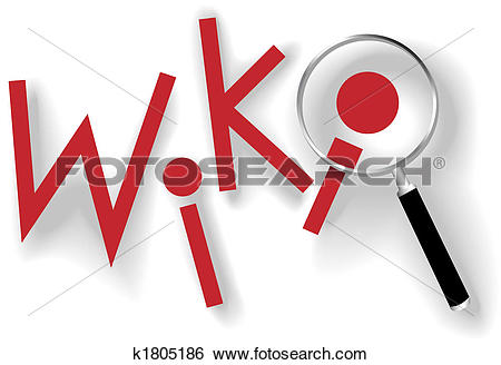 Clip Art of Wiki keys magnifying glass to find information.