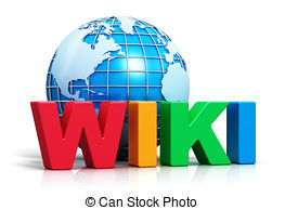 Clipart of Wiki Button For Online Information Or Encyclopedias.