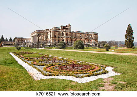 Stock Photography of Witley Court ruins formal gardens and.