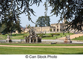 Stock Images of Witley Court ruins formal gardens and classical.