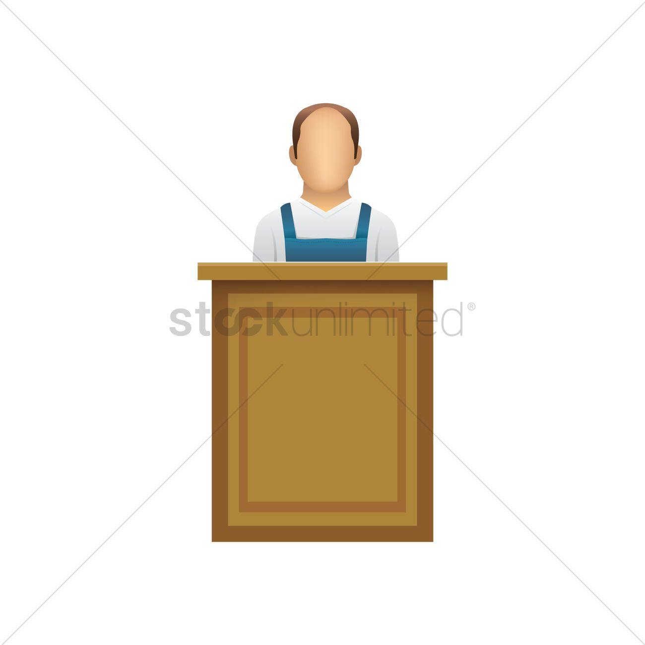 Court witness at a podium Vector Image.