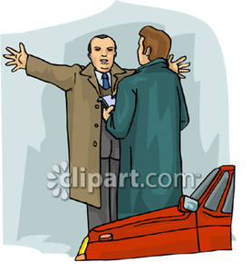 Witness Speaking with a Detective Royalty Free Clipart Picture.