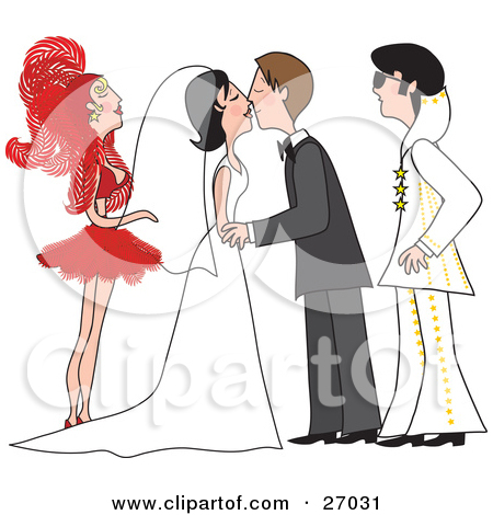Clipart Illustration of a Bride And Groom In A Gown And Tuxedo.