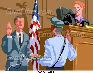 bailiff swearing in a witness Vector Clip art.