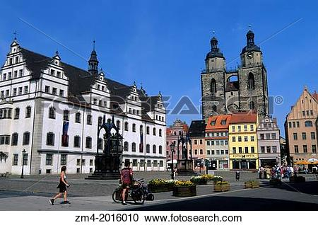 Stock Photography of GERMANY, WITTENBERG, MARKET SQUARE WITH TOWN.