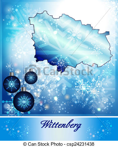 Drawings of Map of Wittenberg in Christmas Design in blue.