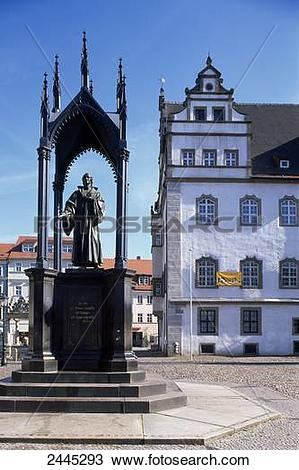 Stock Photo of Statue in front of town hall, Wittenberg, Saxony.