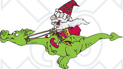 Clipart Illustration of a Happy Wizard Taking A Ride On His.