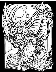 Wizard And Dragon Coloring Pages.