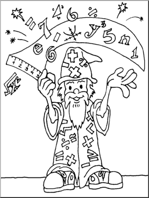 Clip Art: Math Wizard B&W I abcteach.com.