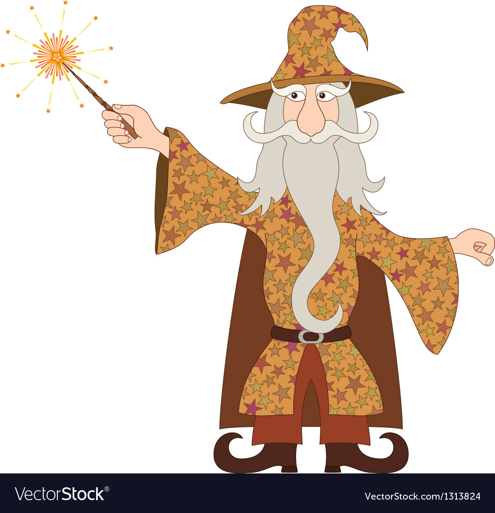 Wizard casting spell with magic wand.