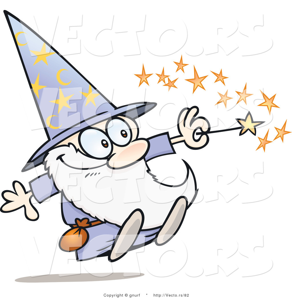 Vector of a Happy Cartoon Wizard Casting a Spell with His.