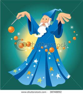 A Wizard Casting a Spell with Orange Orbs.