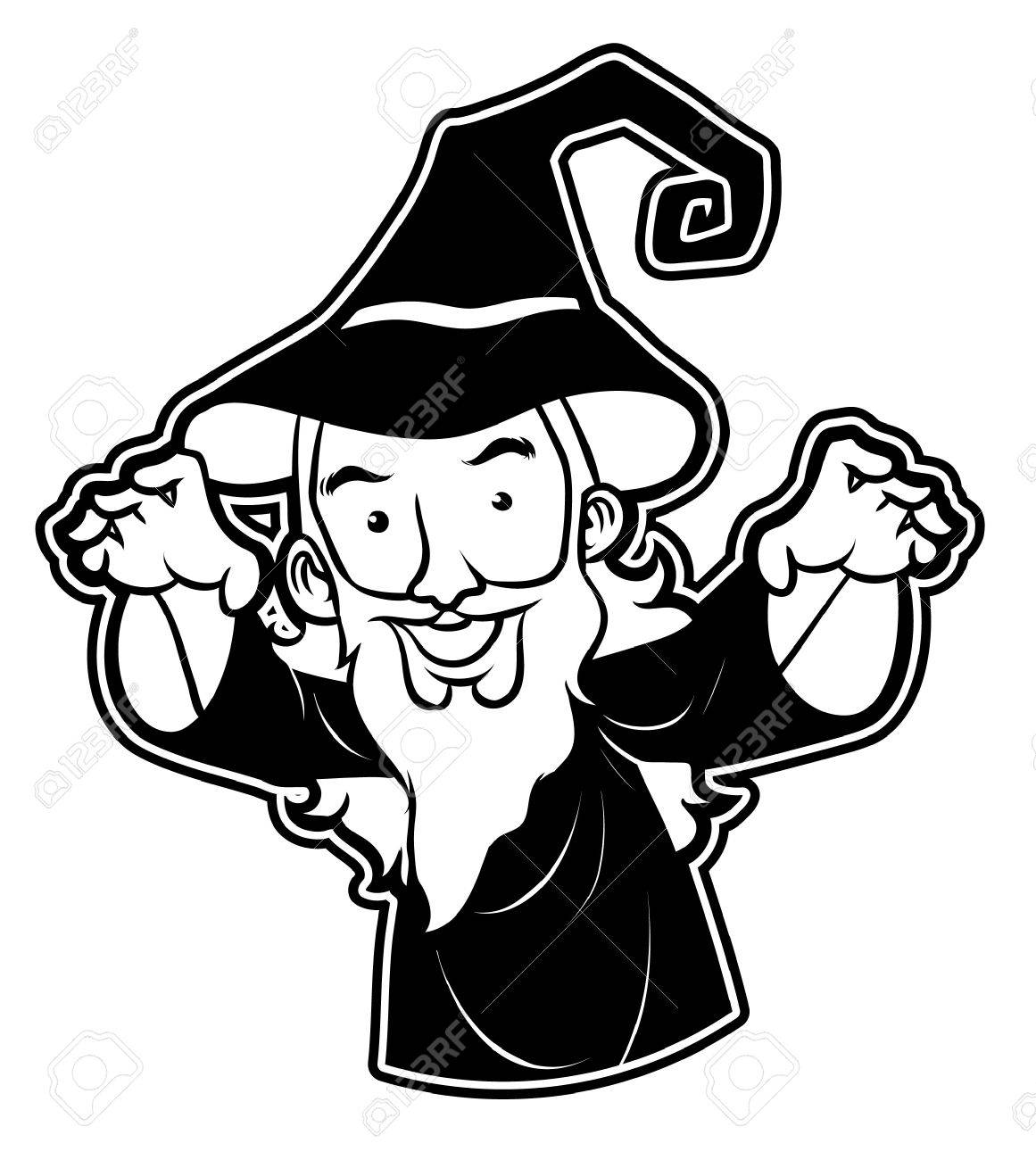 black and white clipart wizard.