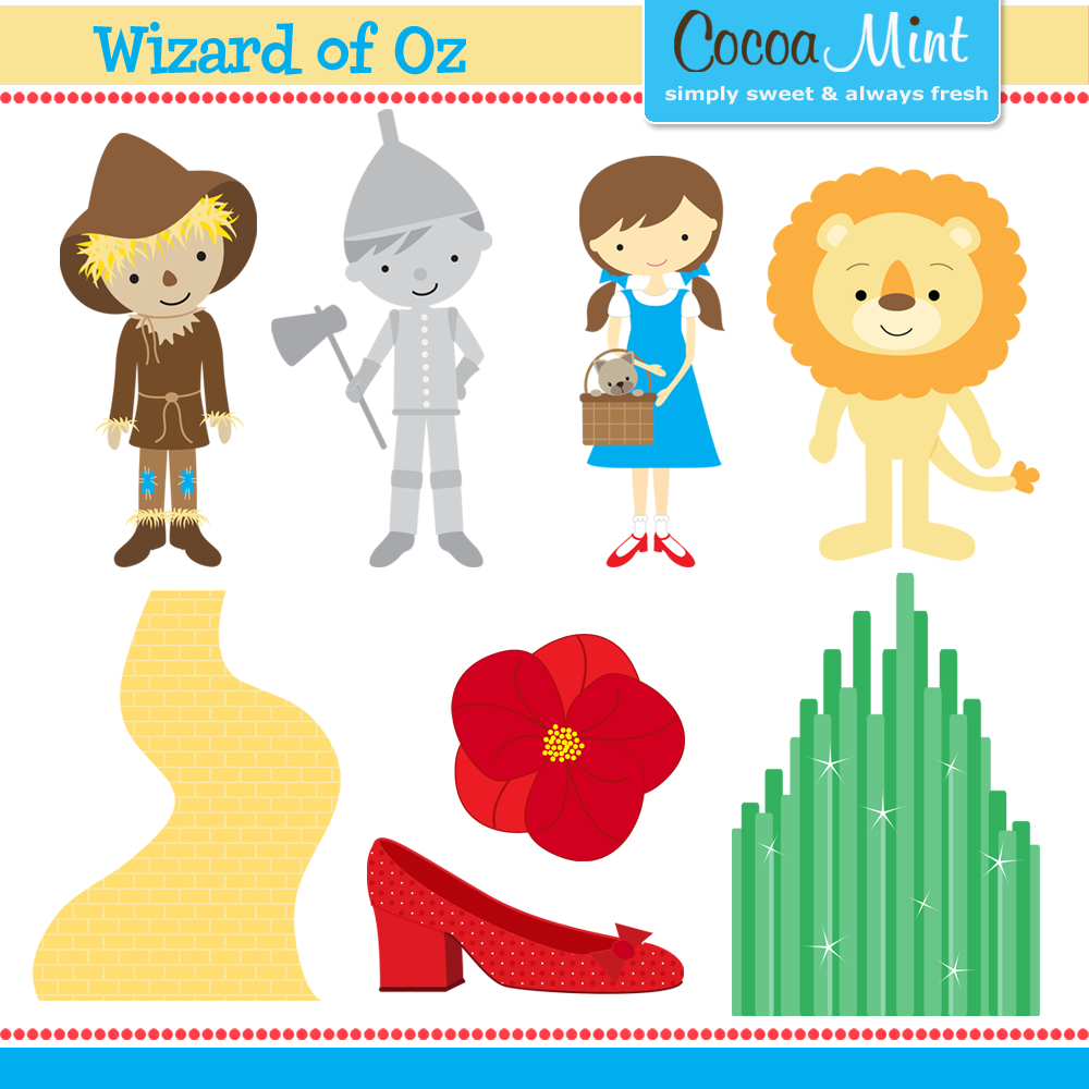 Wizard of Oz clip art for invitations, name cards and cupcake.