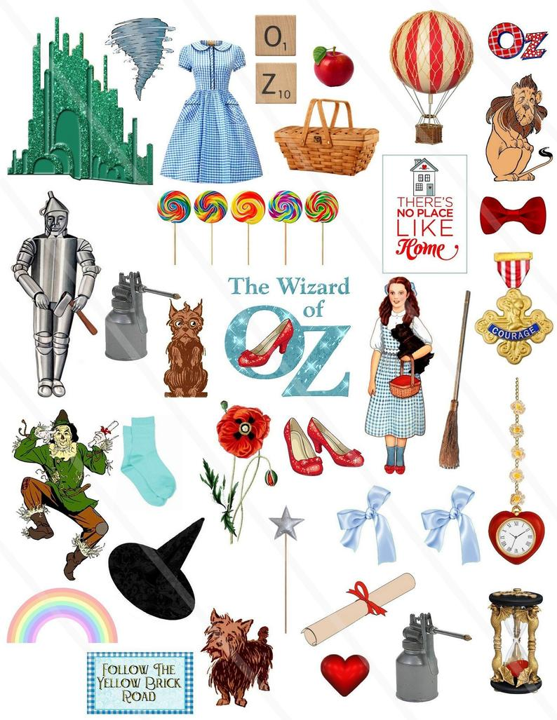 Wizard of Oz Clipart Dorothy Clip Art Digital collage sheet Wizard of Oz  Dorothy ruby slippers Illustration PNG file JPEG file.