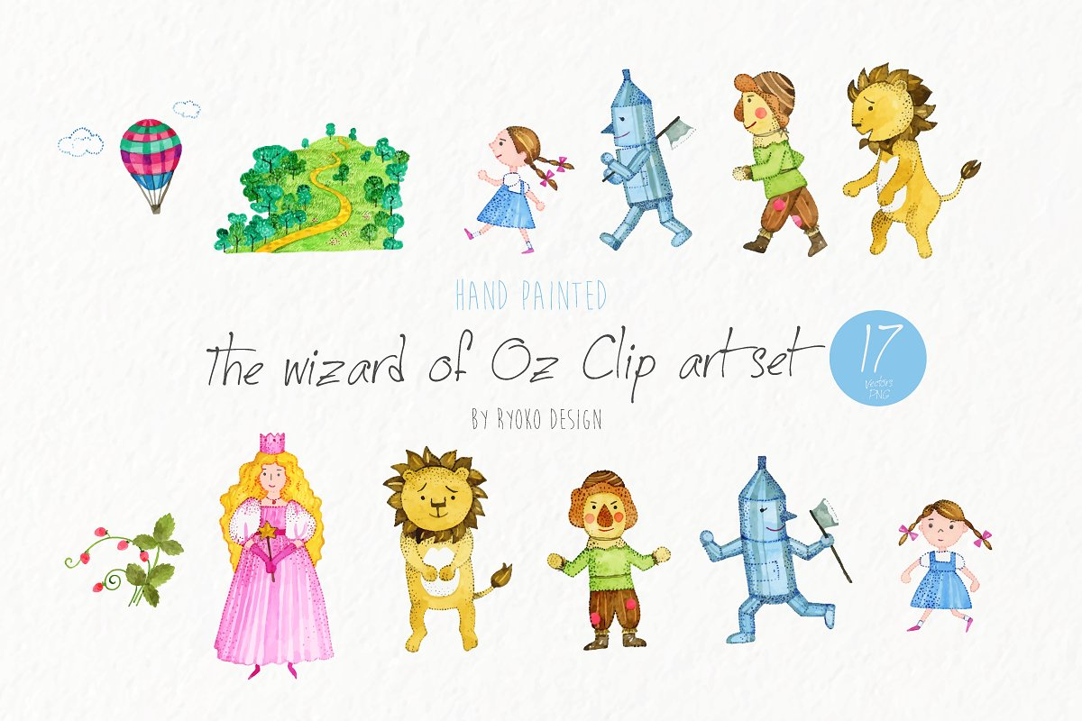 The wizard of Oz watercolor graphic.