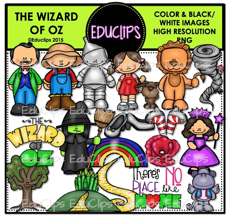 The Wizard Of Oz Clip Art Bundle (Color and B&W).