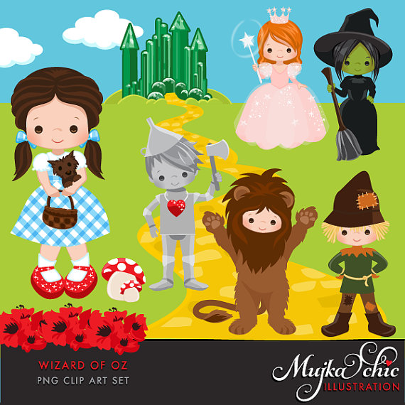 Wizard of Oz Clipart. Dorothy, Tin man, Scarecrow, Cowardly Lion.