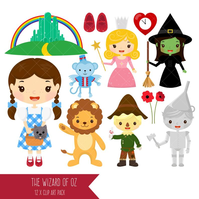 Wizard of Oz Clipart / Dorothy / Tin Man / Scarecrow / Wicked Witch / Good  Witch / Cowardly Lion / Emerald City.