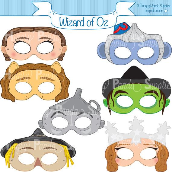 Wizard of Oz Printable Masks, dorothy mask, tin man mask.