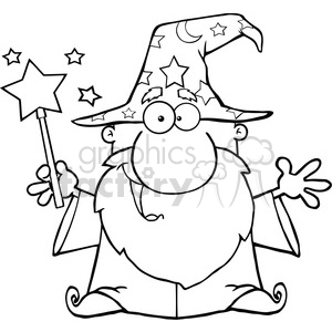 Clipart of Funny Wizard Waving With Magic Wand clipart. Royalty.
