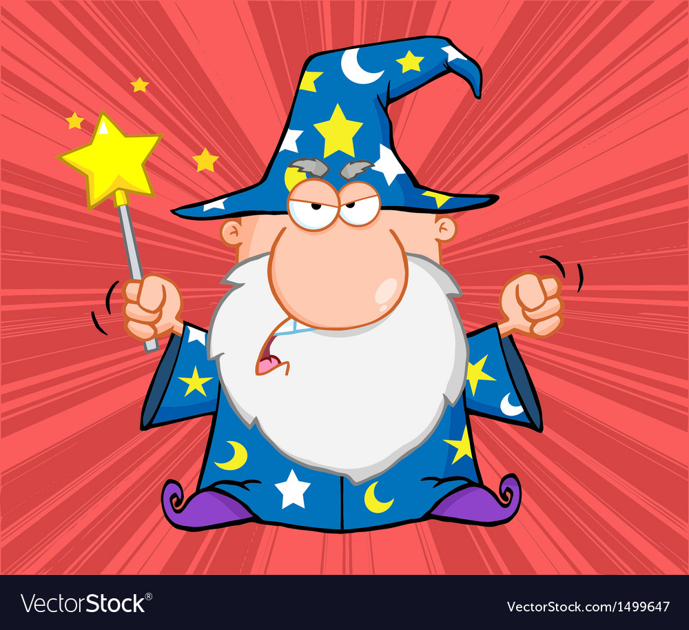 Angry Wizard With Magic Wand.