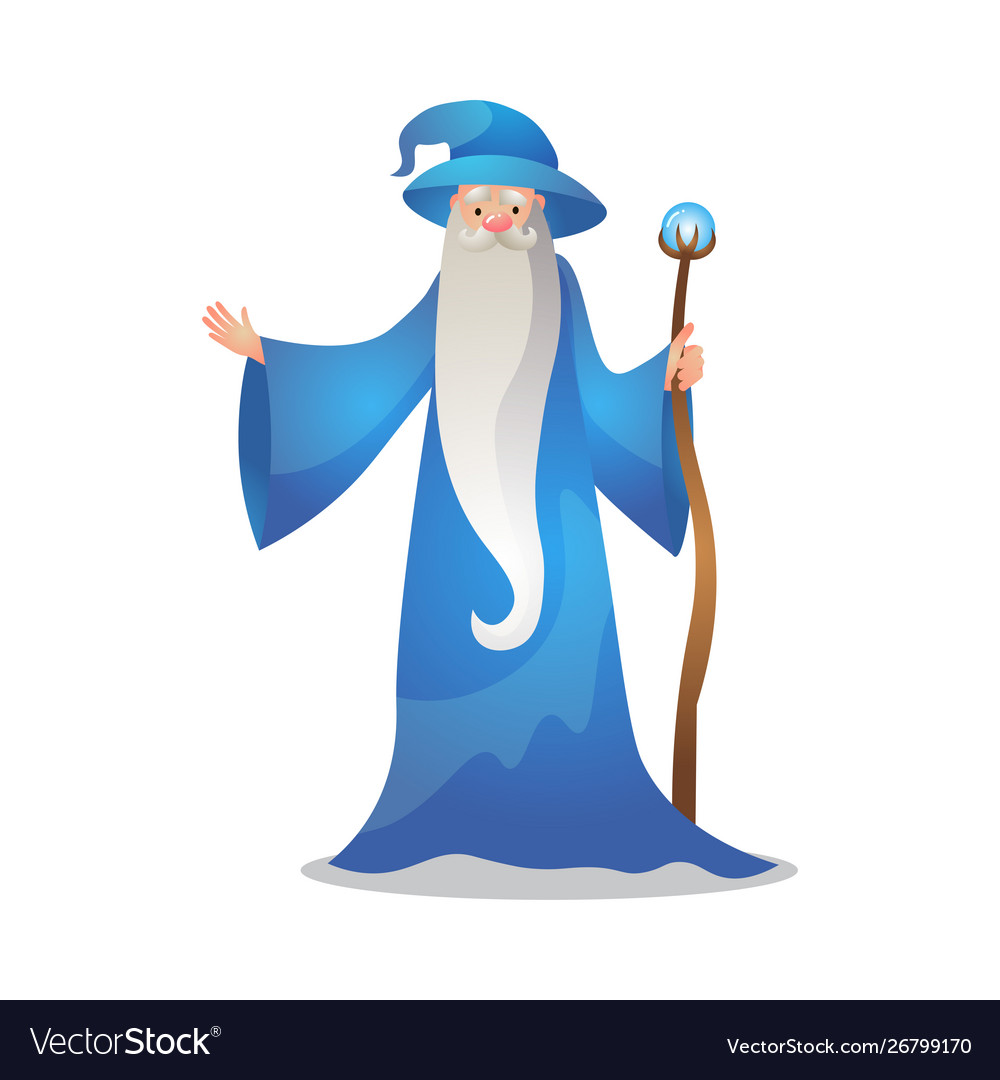 Wizard character poses with wand colorful.