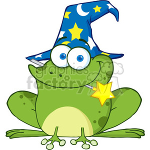 Royalty Free Wizard Frog With A Magic Wand In Mouth clipart. Royalty.