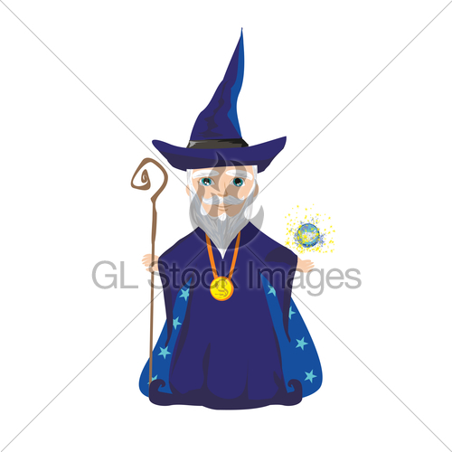 Funny Wizard With A Magic Ball And A Wand · GL Stock Images.