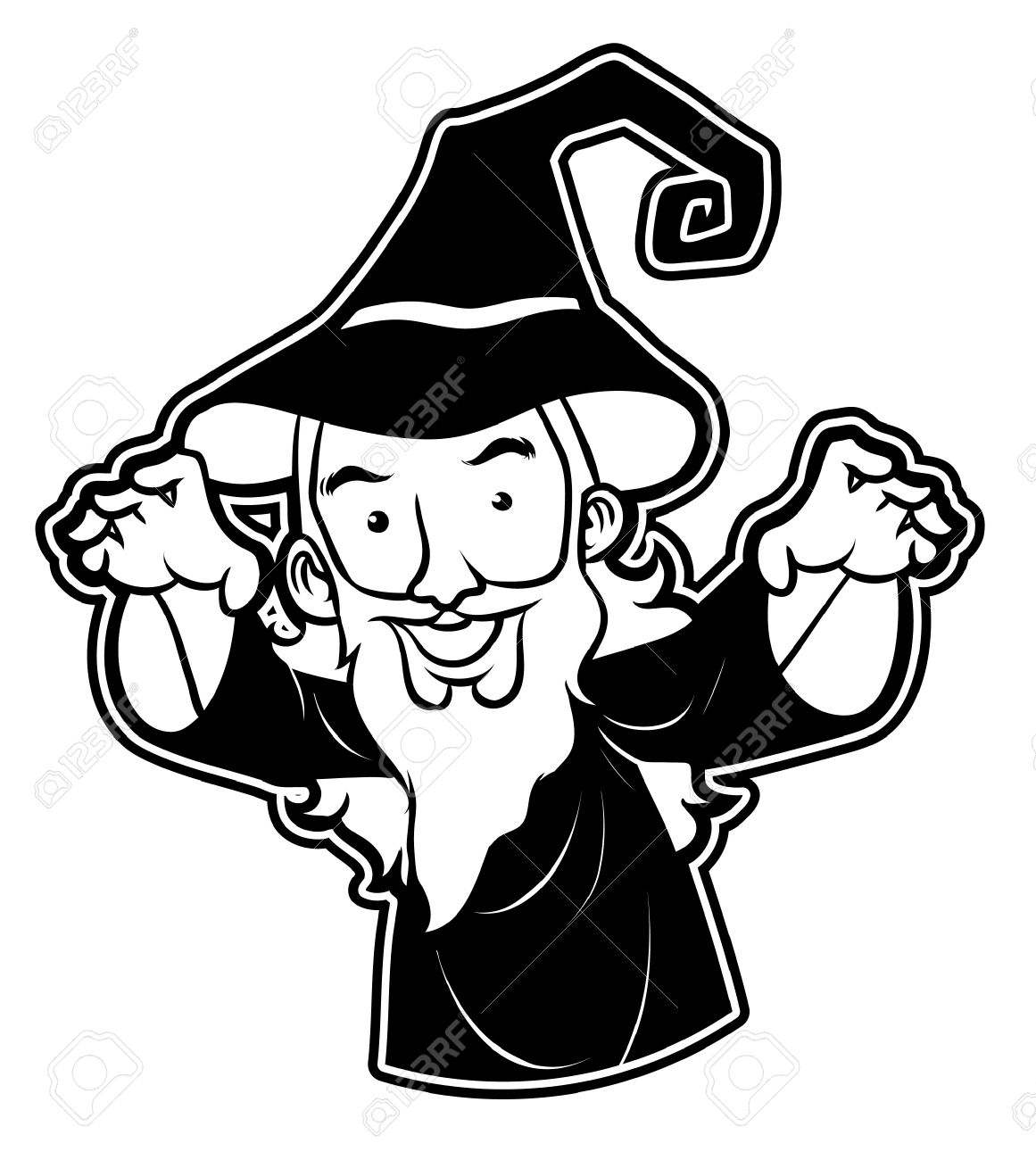 Black And White Clipart Wizard Royalty Free Cliparts, Vectors, And.