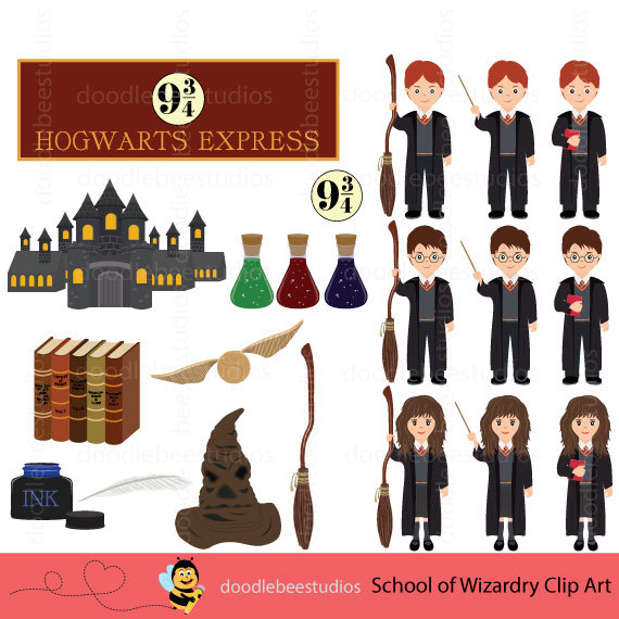 School of Wizardry Clipart Harry Potter by doodlebeestudios.