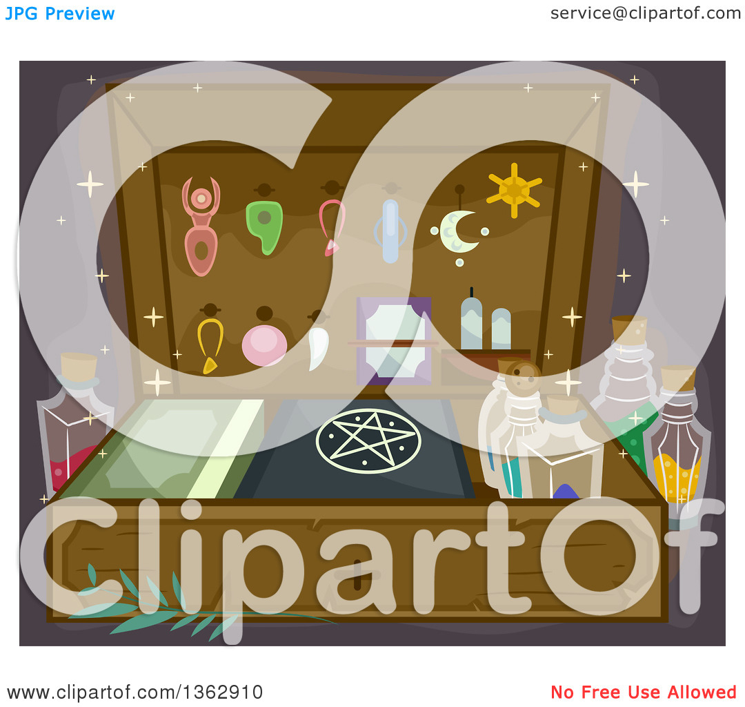 Clipart of a Witchcraft or Wizardry Kit with Accessories, Potions.