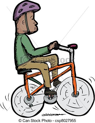 Clipart Vector of Man on Bike.