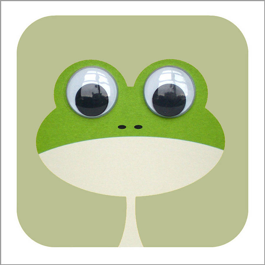 wobbly eyed frog card by stripeycats.