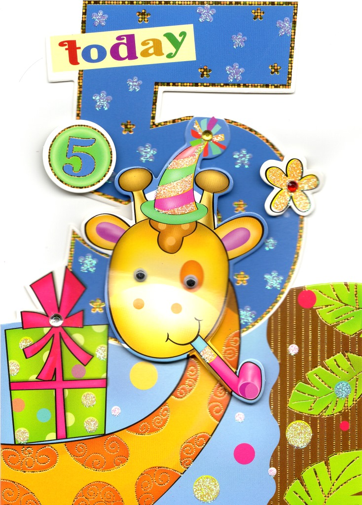 Boys 5th Birthday Jungle Friends Greeting Card Die Cut Wobbly Eye.
