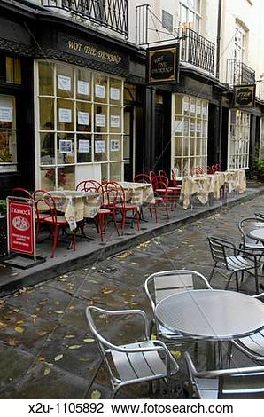 Stock Photo of Tables outside Wot the Dickens Cafe in Woburn Walk.