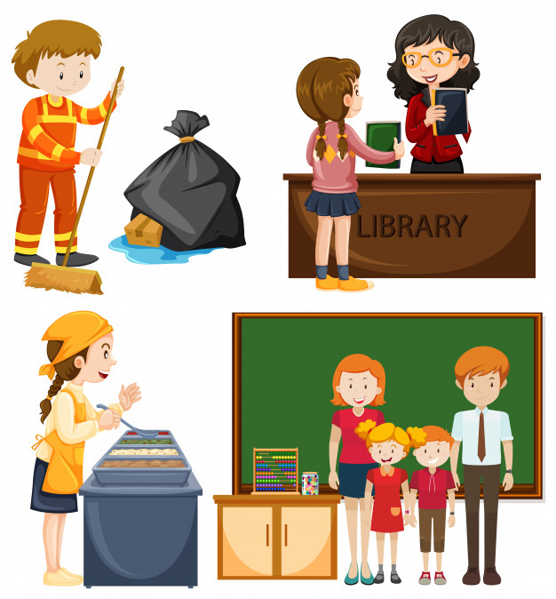 People doing different types of jobs Free Vector.