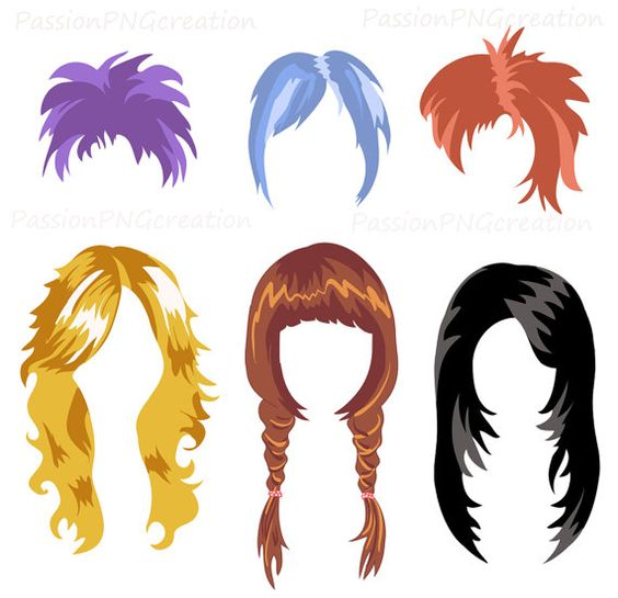 Digital Wig clipart Photobooth Props by PassionPNGcreation on Etsy.