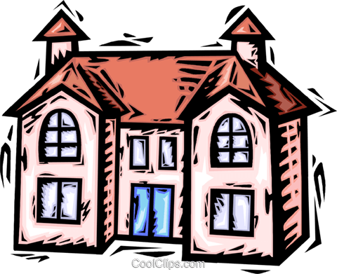 Rural Housing Royalty Free Vector Clip Art illustration.