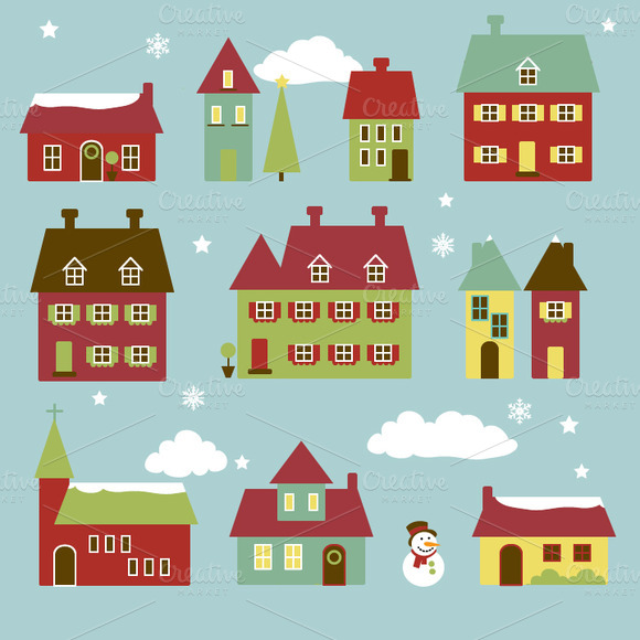 Winter Village Vectors and Clipart.