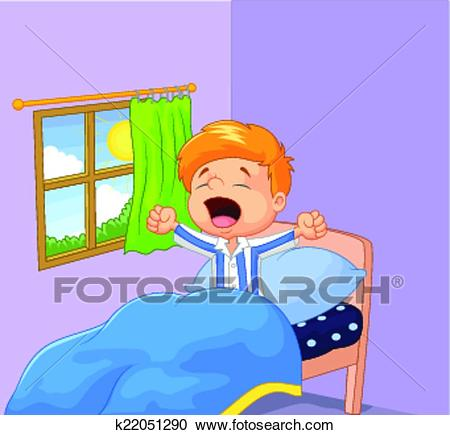 Little boy woke up and yawns Clipart.