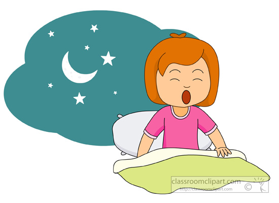 Child waking up in the morning clipart.